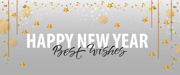 Feliz ano novo, best wishes lettering com estrelas de ouro