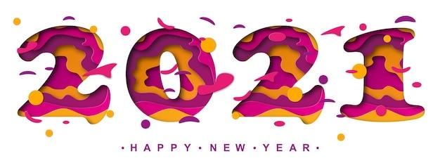 Feliz ano novo bonito texto colorido. cartão de férias com números isolados.