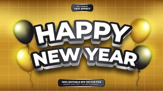 Feliz ano novo branco preto efeito de texto editável 3d