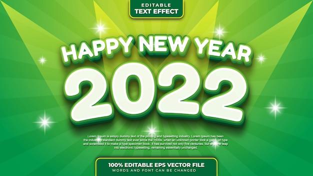 Feliz ano novo, branco, verde, efeito de texto editável 3d