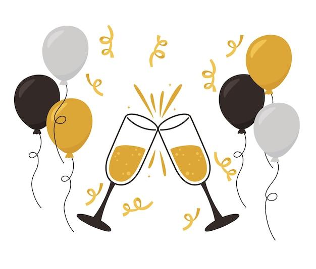 Feliz ano novo, brinde com champanhe, balões, decoração de confete e ilustração vetorial de celebração