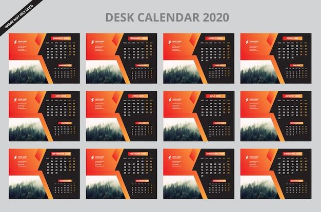 Feliz ano novo calendário de mesa 2020