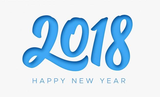 Feliz ano novo cartão 2018 com corte de papel
