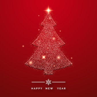 Feliz ano novo cartão com brilhantes árvores de natal