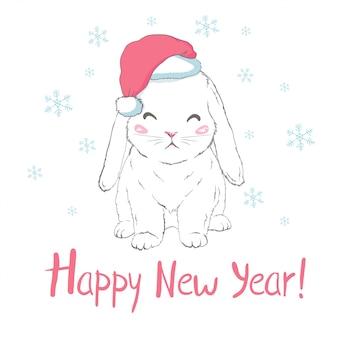 Feliz ano novo cartão com coelho no chapéu de papai noel
