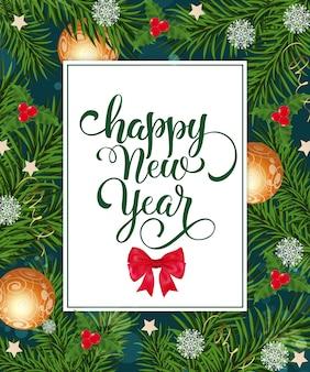 Feliz ano novo cartão com decorações
