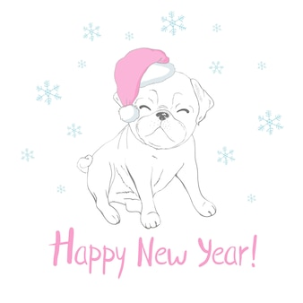 Feliz ano novo cartão com filhote de cachorro bonito em um chapéu de papai noel e cachecol.