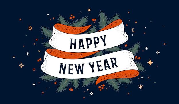 Feliz ano novo. cartão com fita e texto feliz ano novo.