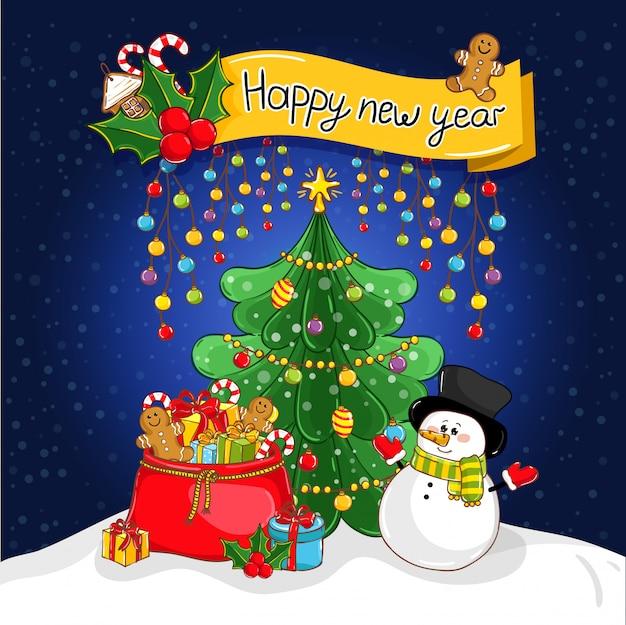 Feliz ano novo cartão com papai noel