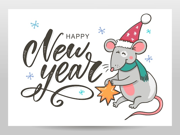 Feliz ano novo cartão com rato