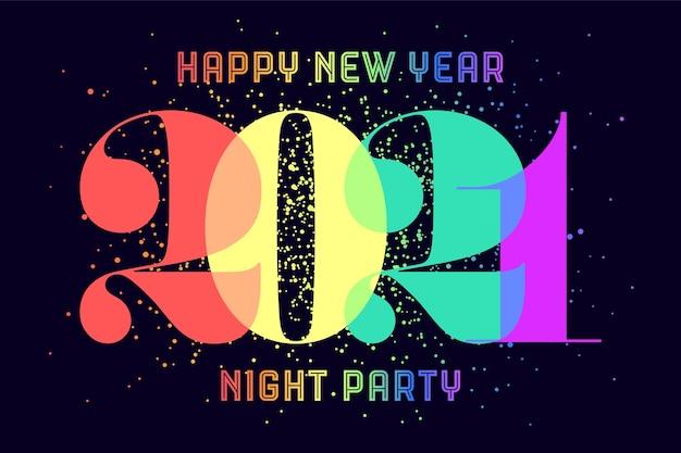 Feliz ano novo. cartão com texto colorido arco-íris feliz ano novo