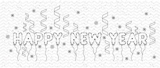Feliz ano novo cartão de letras