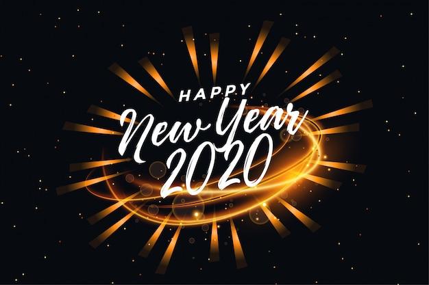 Feliz ano novo cartão de saudação luz abstrata