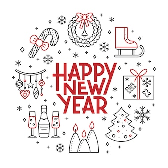 Feliz ano novo cartão, férias de inverno vermelho, ícone de linha preta letras bandeira.