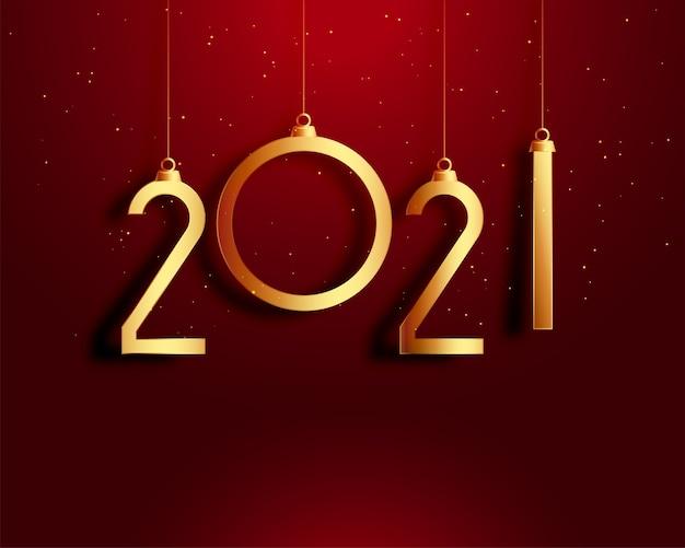 Feliz ano novo cartão vermelho e dourado