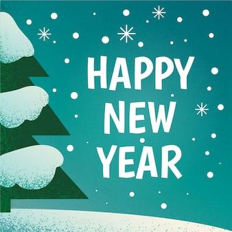 Feliz ano novo cartão vintage