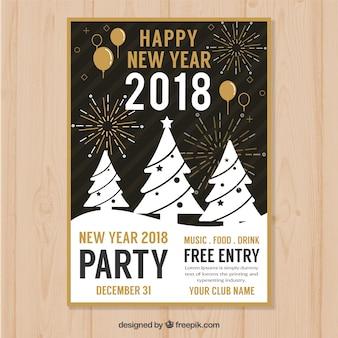Feliz ano novo cartaz com árvores de natal brancas