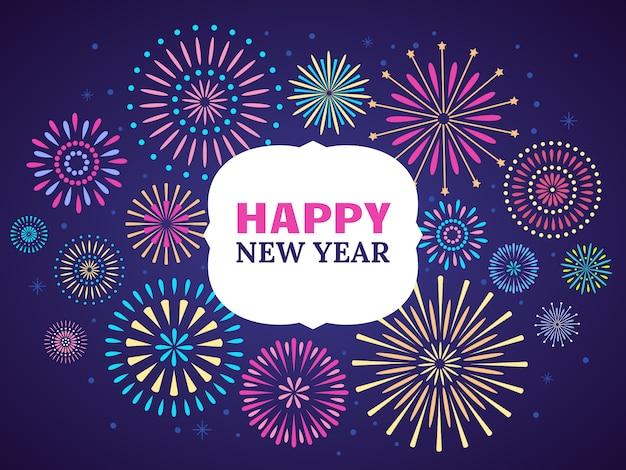 Feliz ano novo cartaz de fogo de artifício. fogos de artifício de celebração.