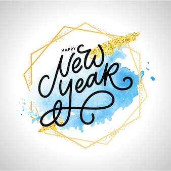 Feliz ano novo. cartaz de lindo cartão com fogos de artifício de ouro de palavra caligrafia de texto preto. elementos de design de mão desenhada. fundo branco manuscrito com pincel moderno