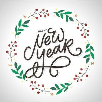 Feliz ano novo. cartaz de lindo cartão com fogos de artifício de ouro de palavra caligrafia de texto preto. elementos desenhados à mão.