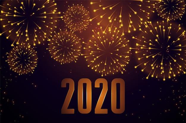 Feliz ano novo celebração fogo de artifício 2020