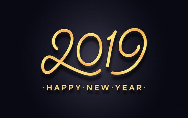 Feliz ano novo chinês 2019 cartão de tipografia vector