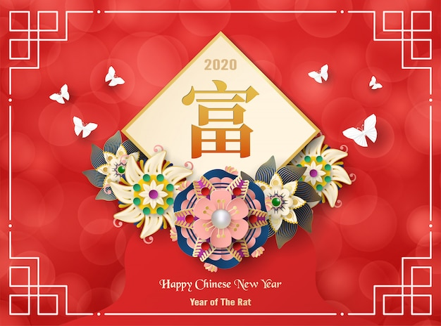 Feliz ano novo chinês 2020, ano do rato.