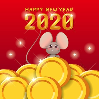Feliz ano novo chinês 2020 ano do rato.