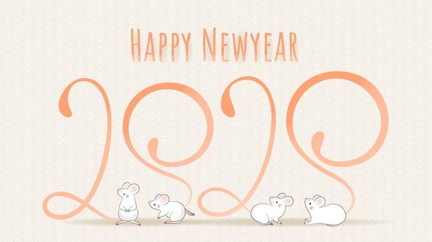Feliz ano novo chinês 2020, ano do zodíaco rato. quatro mouses com cauda longa cuja forma se parece com o número 2020.