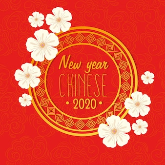 Feliz ano novo chinês 2020 com decoração