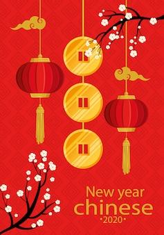 Feliz ano novo chinês 2020 com lanternas penduradas