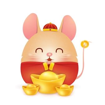 Feliz ano novo chinês 2020. personagem de rato pequeno gordo dos desenhos animados com traje vermelho chinês tradicional e lingote de ouro chinês isolado no fundo branco. o ano do rato. zodíaco do rato.