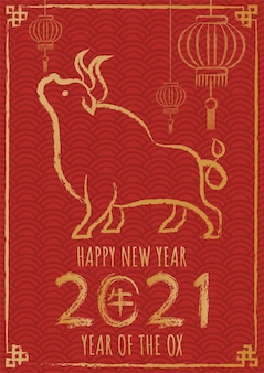 Feliz ano novo chinês 2021, ano do boi com caligrafia de boi desenhada à mão.