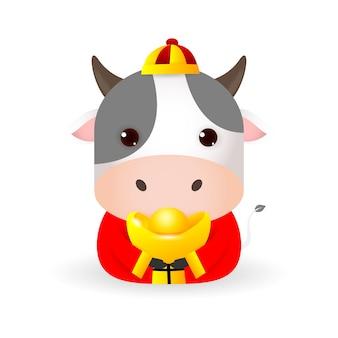 Feliz ano novo chinês 2021, boi pequeno segurando ouro chinês, o ano do zodíaco boi, vaca bonita ilustração dos desenhos animados isolada no fundo branco.