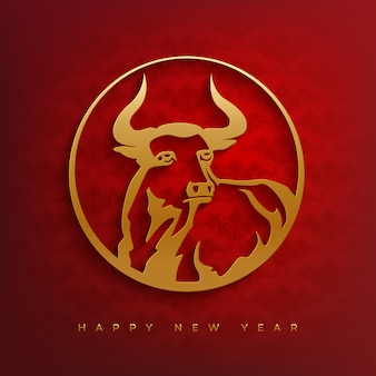 Feliz ano novo chinês 2021 cartão com cabeça de touro.