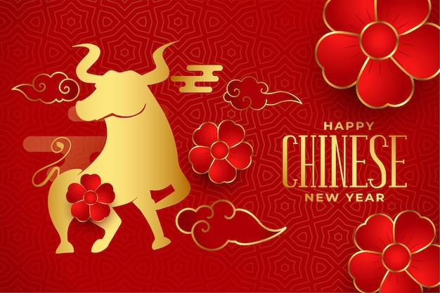Feliz ano novo chinês com boi e fundo vermelho floral