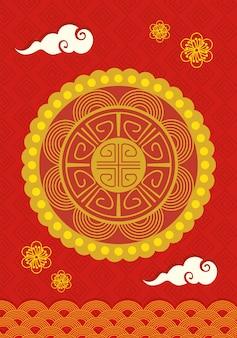 Feliz ano novo chinês com flores e nuvens