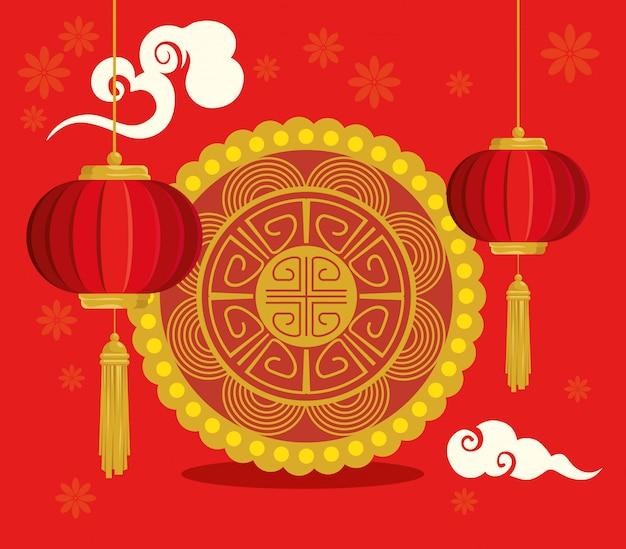 Feliz ano novo chinês com lanternas penduradas