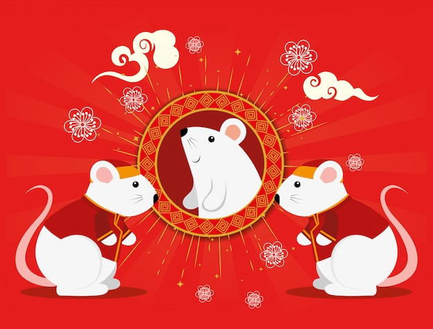 Feliz ano novo chinês com ratos e decoração