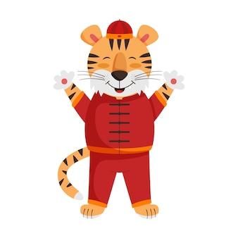 Feliz ano novo chinês com um tigre bonito em traje vermelho