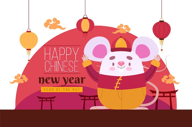 Feliz ano novo chinês de mão desenhada