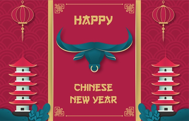 Feliz ano novo chinês do boi