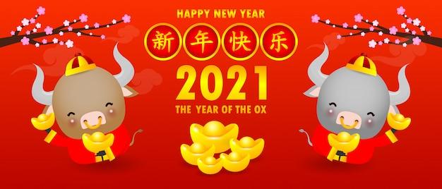 Feliz ano novo chinês, o ano do zodíaco boi