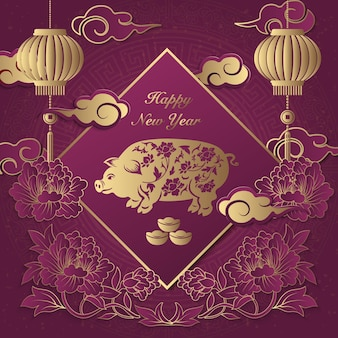 Feliz ano novo chinês retro elegante alívio peônia flor lanterna porco nuvem lingote e dístico de primavera.