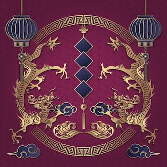 Feliz ano novo chinês retro ouro roxo relevo dragão nuvem lanterna onda e dístico de primavera