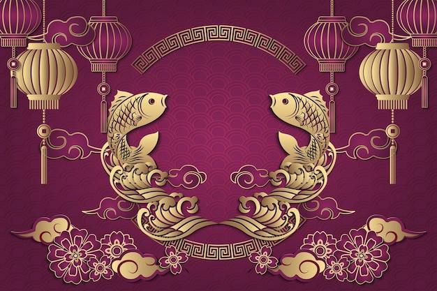 Feliz ano novo chinês retro ouro roxo relevo peixe nuvem onda lanterna dístico primavera e moldura de treliça redonda