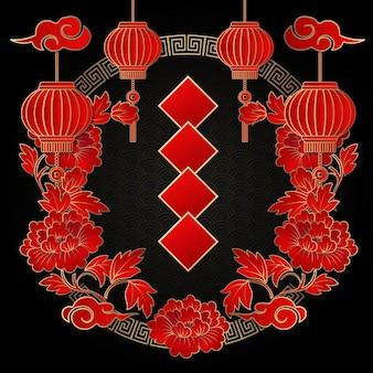 Feliz ano novo chinês retrô preto vermelho em relevo peônia flor coroa de flores moldura lanterna nuvem e dístico de primavera