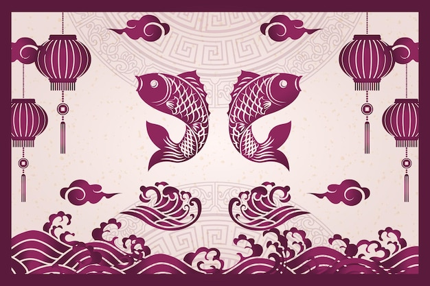 Feliz ano novo chinês retro roxo tradicional moldura peixe lanterna onda nuvem e palavras auspiciosas