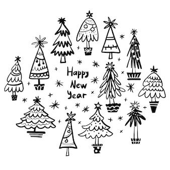Feliz ano novo, coleção de árvores de natal com design moderno desenhado à mão