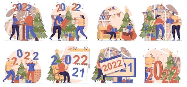 Feliz ano novo, coleção de cenas isoladas pessoas celebrando o feriado de 2022 em casa festivo